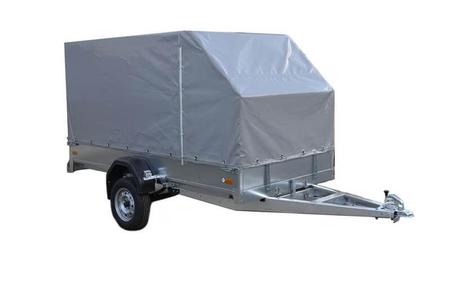 Одноосный грузовой прицеп с бортовой опракидывающейся платформой ССТ-7132-09 К с тентом